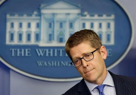 White House Press Secretary Jay Carney answers questions in the White House press briefing room inside the White House in Washington, May 21, 2013. REUTERS/Larry Downing