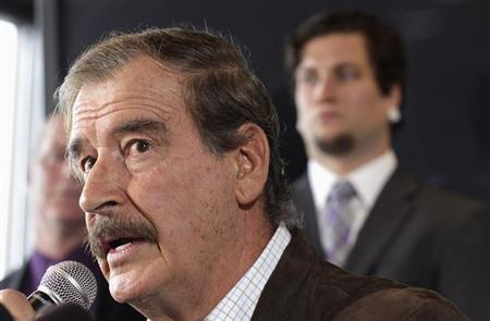 Former President of Mexico Vicente Fox talks during a news conference with marijuana entrepreneur and CEO of Diego Pellicer Inc. Jamen Shively (not pictured) in Seattle, Washington, May 30, 2013. REUTERS/Marcus Donner