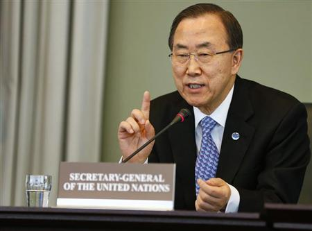 U.N. Secretary-General Ban Ki-moon speaks at a news conference at the Organisation for the Prohibition of Chemical Weapons (OPCW) in the Hague April 8, 2013. REUTERS/ Michael Kooren