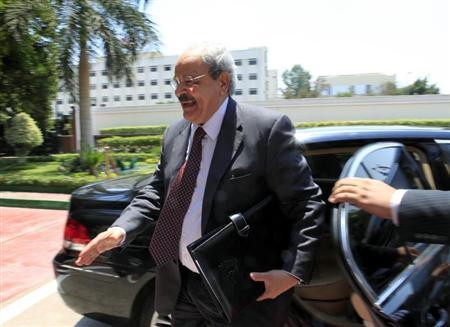 File photo of Samir Radwan as he arrives for a meeting with Crown Prince of Qatar Sheikh Tamim bin Hamad Al-Thani and Field Marshal Hussein Tantawi, head of the Egyptian Armed Forces Supreme Council, in Cairo June 30, 2011. REUTERS/Amel Pain/Pool