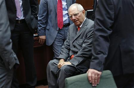 Germany's Finance Minister Wolfgang Schaeuble arrives to attend a European Union finance ministers meeting in Brussels July 9, 2013. REUTERS/Francois Lenoir