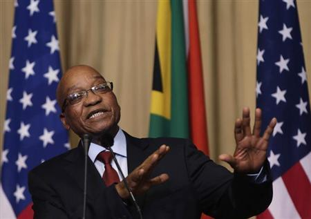South Africa's President Jacob Zuma takes a question at a joint news conference with U.S. President Barack Obama (not pictured) at the Union Building in Pretoria June 29, 2013. REUTERS/Gary Cameron