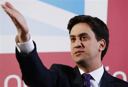 Britain's leader of the opposition Labour party, Ed Miliband, gestures during a speech in the City of London July 9, 2013. REUTERS/Luke MacGregor