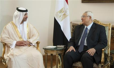 Egypt's interim President Adli Mansour (R) meets with UAE's National Security Adviser Sheikh Hazza bin Zayed Al Nahyan at El-Thadiya presidential palace in Cairo July 9, 2013 in this picture provided by the Egyptian Presidency. REUTERS/Egyptian Presidency/Handout via Reuters