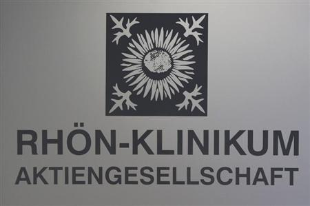 The logo of German healthcare company Rhon-Klinikum AG is pictured in Bad Neustadt near Fulda September 3, 2012. REUTERS/Alex Domanski