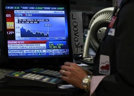 A trader works on the floor of the New York Stock Exchange as The Federal Reserve rate announcement is shown on a screen, November 3, 2010. REUTERS/Brendan McDermid
