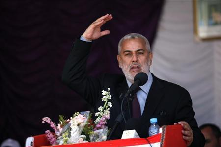 Moroccan Prime Minister Abdelilah Benkirane speaks during a May Day rally by his Party for Justice and Development (PJD), in Casablanca May 1, 2013. REUTERS/Youssef Boudlal