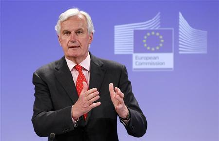 European Union Commissioner for Internal Market and Services Michel Barnier addresses a news conference in Brussels July 10, 2013. REUTERS/Francois Lenoir
