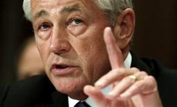 """U.S. Defense Secretary Chuck Hagel testifies at a Senate Appropriations Defense Subcommittee hearing on """"Department Leadership."""" on Capitol Hill in Washington June 11, 2013. REUTERS/Kevin Lamarque"""