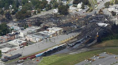 A aerial view of the wreckage of the crude oil train is seen in Lac Megantic, July 8, 2013. REUTERS/Mathieu Belanger