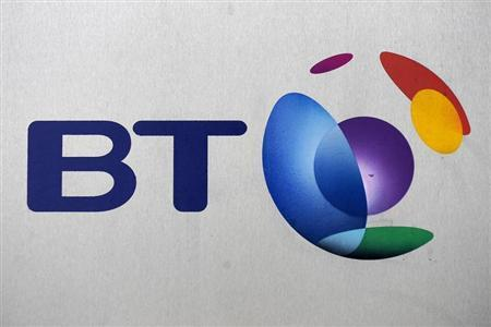 The British Telecom logo is seen, in central London November 13, 2008. REUTERS/Toby Melville/Files
