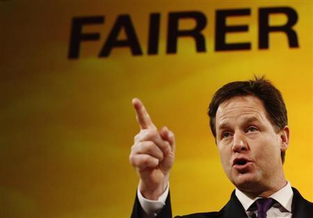 Britain's Deputy Prime Minister and leader of the Liberal Democrats, Nick Clegg, delivers his keynote speech at the party's spring conference in Brighton, southern England March 10, 2013. REUTERS/Luke MacGregor