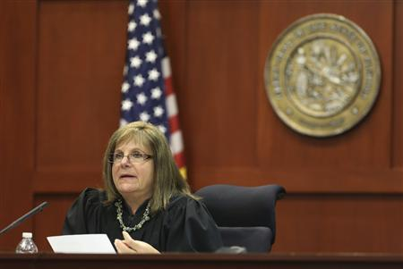 Circuit Judge Debra Nelson speaks from the bench in the George Zimmerman trial in Seminole circuit court in Sanford, Florida July 10, 2013. REUTERS/Gary W. Green/Pool