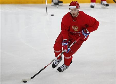 Russian hockey player for the New Jersey Devils, Ilya Kovalchuk, skates during a team training session at the Hartwall Arena in Helsinki, May 2, 2013. REUTERS/Grigory Dukor