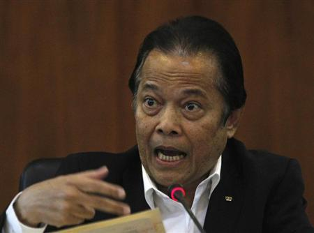 Football Association of Thailand (FAT) President Worawi Makudi speaks during a news conference at the association office in Bangkok September 19, 2012. REUTERS/Chaiwat Subprasom/Files