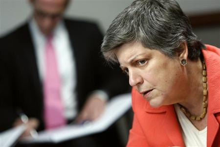 U.S. Homeland Security Secretary Janet Napolitano listens to a reporter's question during the Reuters Cybersecurity Summit in Washington, May 14, 2013. REUTERS/Jonathan Ernst
