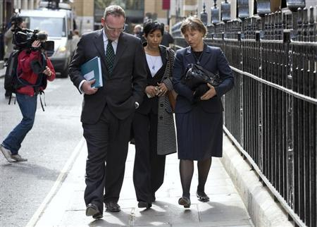 Marina Litvinenko (R) leaves a hearing into the death of her husband, Alexander Litvinenko, in London September 20, 2012. REUTERS/Neil Hall