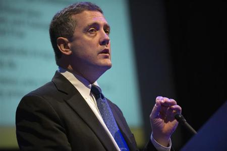 The Federal Reserve Bank of St. Louis' President and CEO James Bullard speaks during the ''Hyman P. Minsky Conference on the State of the U.S. and World Economies,'' in New York, April 17, 2013. REUTERS/Keith Bedford