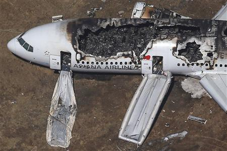An Asiana Airlines Boeing 777 plane is seen after it crashed while landing at San Francisco International Airport in California, in this file aerial view taken July 6, 2013. REUTERS/Jed Jacobsohn/Files