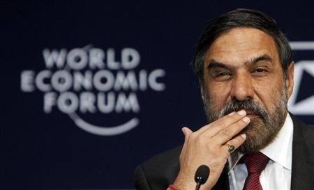 India's Minister of Commerce and Industry Anand Sharma attends the opening plenary session of the World Economic Forum (WEF) India Economic Summit in Mumbai November 13, 2011. REUTERS/Vivek Prakash