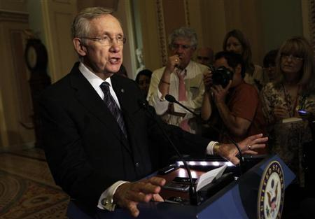 U.S. Senate Majority Leader Harry Reid (D-NV) speaks to the media about an immigration reform on Capitol Hill in Washington June 18, 2013. REUTERS/Yuri Gripas