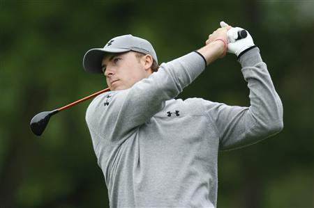 Jordan Spieth of the U.S. watches his second shot on the ninth hole during the first round of the Wells Fargo Championship PGA golf tournament at the Quail Hollow Club in Charlotte, North Carolina May 2, 2013. REUTERS/Chris Keane