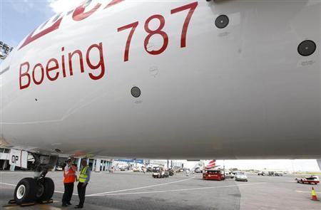 Aviation engineers inspect an Ethiopian Airlines' 787 Dreamliner after it arrived at the Jomo Kenyatta international airport in Kenya's capital Nairobi, April 27, 2013. REUTERS/Thomas Mukoya