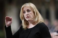 Canada's Labour Minister Lisa Raitt speaks during Question Period in the House of Commons on Parliament Hill in Ottawa January 29, 2013. REUTERS/Chris Wattie