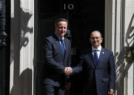 Britain's Prime Minister David Cameron greets the President of Myanmar Thein Sein in Downing Street, central London July 15, 2013. REUTERS/Andrew Winning