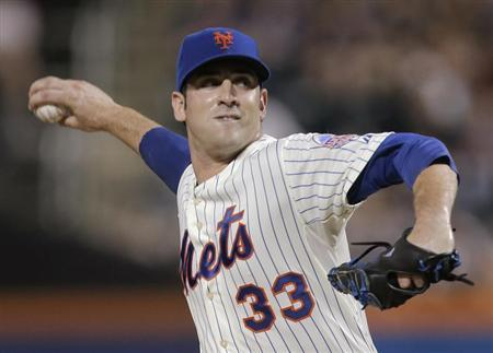 New York Mets starting pitcher Matt Harvey throws a pitch to the Arizona Diamondbacks in the first inning of their MLB National League game at CitiField in New York, July 3, 2013. REUTERS/Ray Stubblebine