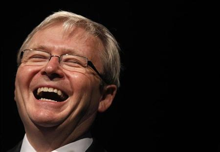 Australia's Prime Minister Kevin Rudd laughs during an address to the Health Services Union annual convention in Sydney June 7, 2010. REUTERS/Tim Wimborne