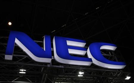 A logo of NEC Corp. is seen at Wireless Japan 2012, a smartphone and mobilephone technology exhibition, in Tokyo May 31, 2012. REUTERS/Issei Kato