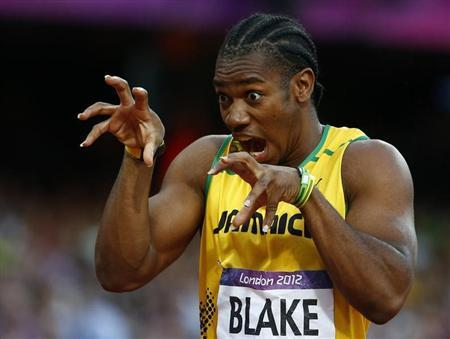 Jamaica's Yohan Blake gestures before the start of his men's 200m semi-final during the London 2012 Olympic Games at the Olympic Stadium August 8, 2012. REUTERS/Kai Pfaffenbach