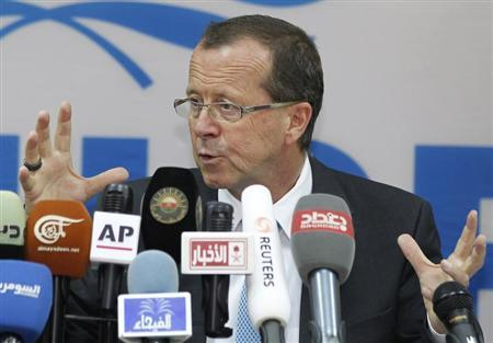 Special Representative of the Secretary-General (SRSG) for Iraq, Martin Kobler speaks at a news conference in Baghdad August 7, 2012. REUTERS/Mohammed Ameen