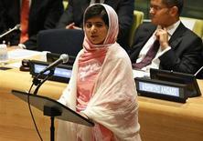 A jovem paquistanesa Malala Yousafzai faz discurso na sede da Organização das Nações Unidas (ONU), em Nova York, Estados Unidos, na semana passada. 12/07/2013 REUTERS/Brendan McDermid