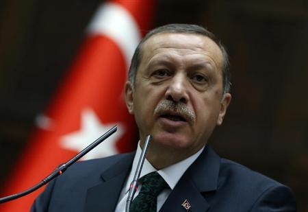 Turkey's Prime Minister Tayyip Erdogan addresses members of parliament from his ruling AK Party (AKP) during a meeting at the Turkish parliament in Ankara June 25, 2013.