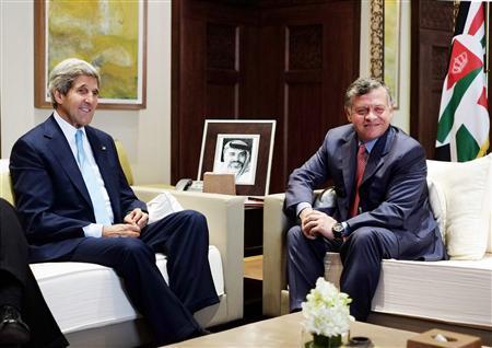 U.S. Secretary of State John Kerry meets with Jordan's King Abdullah II (R) at the al-Hummar Palace in Amman July 17, 2013. REUTERS/Mandel Ngan/Pool
