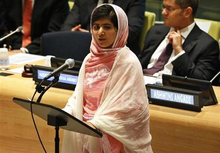 Malala Yousafzai, gives her first speech since the Taliban in Pakistan tried to kill her for advocating education for girls, at the United Nations Headquarters in New York, July 12, 2013. REUTERS/Brendan McDermid