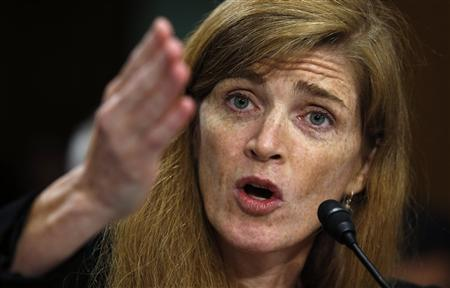 Samantha Power testifies before a Senate Foreign Relations Committee confirmation hearing on her nomination to succeed Susan Rice as U.S. ambassador to the United Nations on Capitol Hill in Washington July 17, 2013. REUTERS/Kevin Lamarque