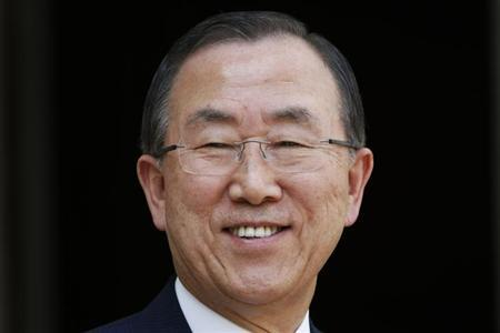 U.N. Secretary-General Ban Ki-moon attends a joint news conference with French President Francois Hollande (not pictured) in the courtyard of the Elysee Palace in Paris July 15, 2013 file photo. REUTERS/Charles Platiau.