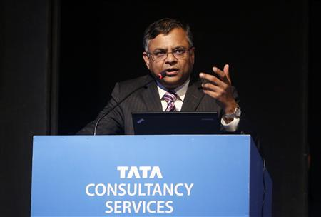 N. Chandrasekaran, chief executive officer of Tata Consultancy Services (TCS), speaks during TCS' Annual General Meeting in Mumbai June 28, 2013. REUTERS/Vivek Prakash