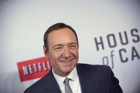 Actor Kevin Spacey arrives at the premiere of Netflix's television series ''House of Cards'' at Alice Tully Hall in the Lincoln Center in New York City in this file photo taken January 30, 2013. Netlix scored big with Thursday's Emmy nominations as its ''House of Cards'' picked up nominations for Outstanding Drama Series and for leads Kevin Spacey and Robin Wright, REUTERS/Stephen Chernin/Files (UNITED STATES - Tags: ENTERTAINMENT)