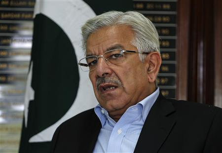 Pakistan's Water and Power Minister Khawaja Asif speaks during an interview with Reuters at his office in Islamabad July 18, 2013. REUTERS/Mian Khursheed