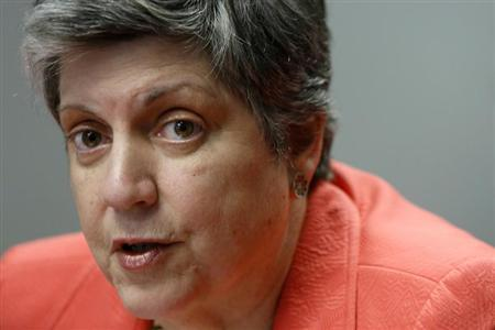 U.S. Homeland Security Secretary Janet Napolitano speaks to reporters during the Reuters Cybersecurity Summit in Washington, May 14, 2013. REUTERS/Jonathan Ernst