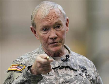 U.S. Chairman of the Joint Chiefs of Staff Army Gen. Martin Dempsey talks to U.S. military personnel stationed at Yokota Air Base in Tokyo April 25, 2013. REUTERS/Yuya Shino