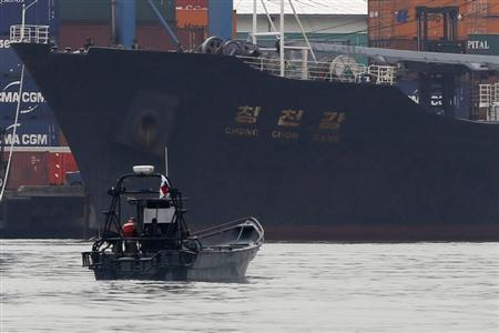 North Korean container ship ''Chong Chon Gang'' docks at the Manzanillo International Container Terminal in Colon City July 16, 2013. REUTERS/Carlos Jasso