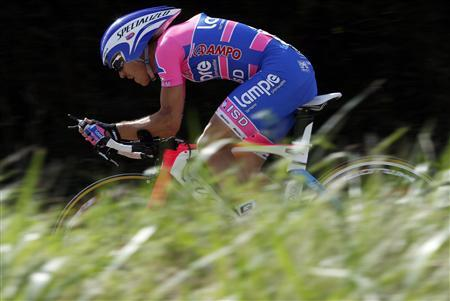 Lampre rider Damiano Cunego of Italy pedals during the 20th time trial stage in Grenoble during the Tour de France cycling race July 23, 2011. REUTERS/Stefano Rellandini