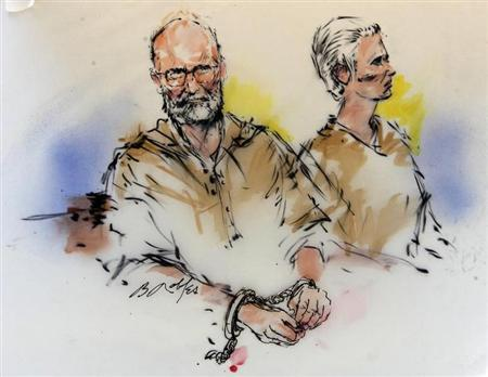 Accused Boston crime boss James ''Whitey'' Bulger (L) and his girlfriend Catherine are shown during their arraignment in federal court in Los Angeles, California in this June 23, 2011 courtroom sketch. REUTERS/Bill Robles/Artist
