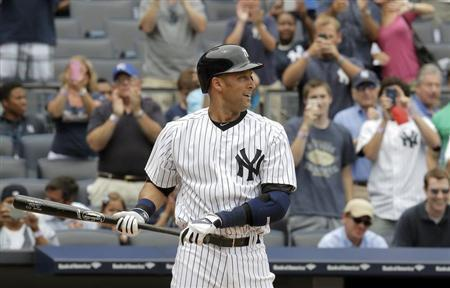 New York Yankees batter Derek Jeter stands at the plate for his first at-bat against the Kansas City Royals in the first inning of their MLB American League baseball game at Yankee Stadium in New York, July 11, 2013. REUTERS/Ray Stubblebine
