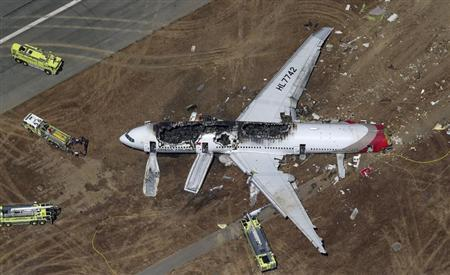 An Asiana Airlines Boeing 777 plane is seen in this aerial image after it crashed while landing at San Francisco International Airport in California on July 6, 2013. REUTERS/Jed Jacobsohn